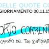 Report CORTO corrente, aggiornamento 15.11.15: contributi conferiti per alluvione in cambio di SoldiCorti.