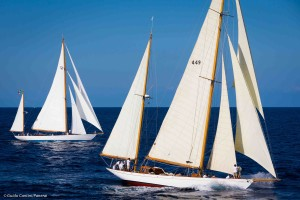 """La Sfida"" regatta between sister ships Eilean and Latifa.Ph: Guido Cantini/Panerai/Sea&See.com"